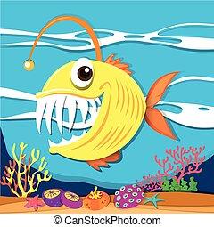affilato, fish, denti, subacqueo