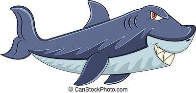 affilato, squalo, cartone animato, denti