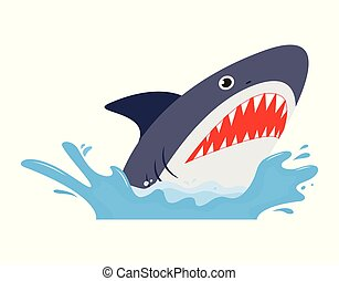 affilato, squalo, parli modo enfatico apra, denti