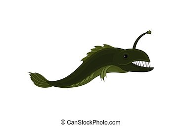affilato, subacqueo, creature., pesce piatto, lungo, vettore, verde, mare, animal., life., predatore, marino, teeth., icona