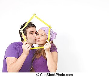 affittare, concetto, casa, coppia, casa, nuovo, o, acquisto