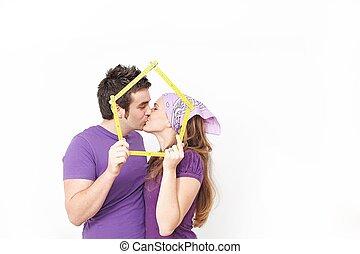 affittare, concetto, coppia, casa nuova, felice, o, acquisto, primo