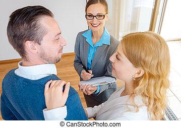 affittare, o, appartamento, coppia, considerare, acquisto