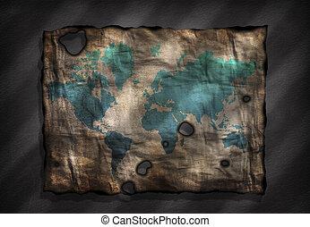 afflitto, mappa, carta, vecchio mondo