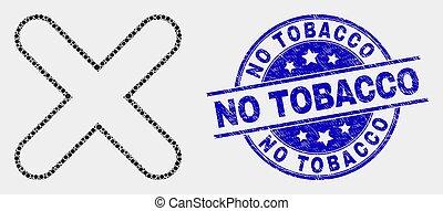 afflizione, tabacco, no, x-cross, vettore, sigillo, puntino, icona