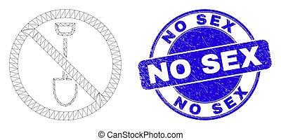 afflizione, web, maglia, fermata, vangata, blu, sigillo, francobollo, no