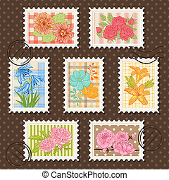 affrancatura, fiore, collection., set., francobolli, vettore
