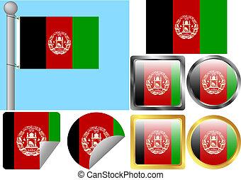 afghanistan, bandiera, set
