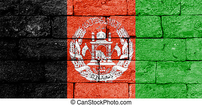 afghanistan, bandiera, vecchio, mattone, wall.