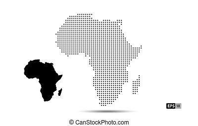 africa, 10, mappa, vettore, eps, isolato, silhouette