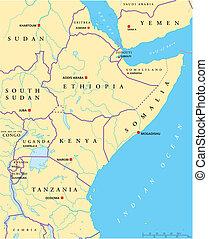 africa, est, politico, mappa