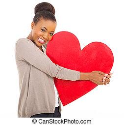 africano, cuore, holding donna, carino