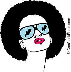 afro, donna, occhiali da sole