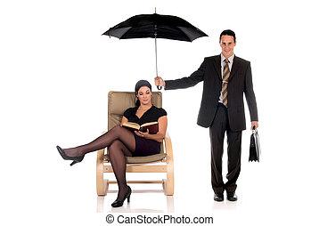 agente, uomo affari, assicurazione