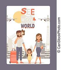 agganciare vacanza, giro, capretto, manifesto, punto di riferimento, famiglia, viaggio mondo, vettore, europa, giovane, fondo., città, vedere, illustration.