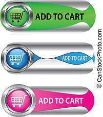 aggiungere, set, button/icon, carrello, metallico
