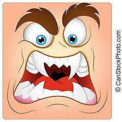 aggressivo, cartone animato, faccia