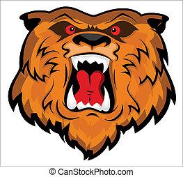 aggressivo, testa, orso, mascotte