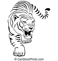 aggressivo, tiger, caccia