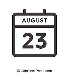 agosto, calandrare, scadenza, giorno, data calendario, appuntamento, 23, o