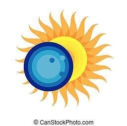 agosto, eclissi, solare, 2017, totale, 21, icona