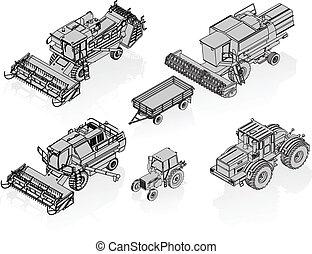 agricolo, vettore, veicoli