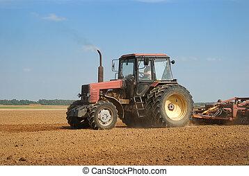 agricoltura, aratura, trattore, fuori