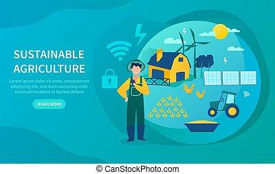 agricoltura, concetto, energia, verde, sostenibile, usando