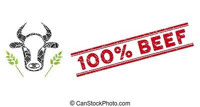 agricoltura, mucca, manzo, frumento, mosaico, francobollo, sigillo, grunge, 100%, linee
