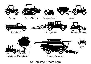 agricoltura, trattori, agricoltura, elenco, veicoli, machines., camion