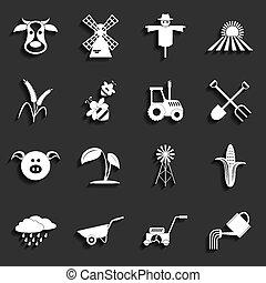 agricoltura, vettore, agricoltura, icons., illustrazione