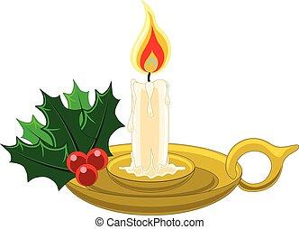 agrifoglio, candleholder, candela, oro, mistletow