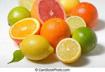 agrume, bianco, isolato, fondo, frutte