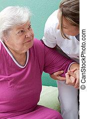 aiuta, paziente infermiera, su, ottenere