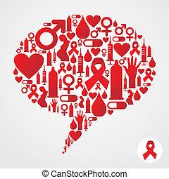 aiuti, comunicazione, bolla, silhouette, icone