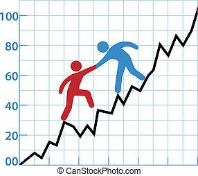 aiuto, affari, redditività, grafico, persona, inchiostro, rosso