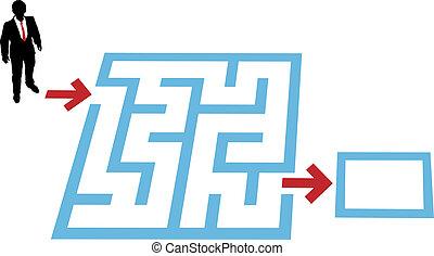 aiuto, affari, soluzione, persona, labirinto, problema, trovare
