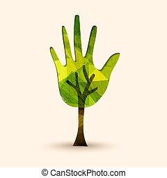 aiuto, albero, illustrazione, mano, ambiente, verde