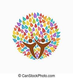 aiuto, persone colorano, simbolo, albero, comunità, squadra
