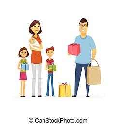 aiuto, persone, -, isolato, illustrazione, bambini, caratteri, madre, cartone animato, volontario