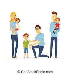 aiuto, persone, -, isolato, illustrazione, cartone animato, caratteri, volontari, bambini