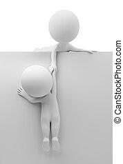aiuto, persone, -, piccolo, amico, 3d