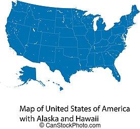 alaska, stati, unito, america, vettore, mappa hawaii