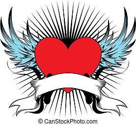 alato, cuore, emblema