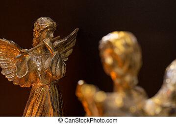 alato, flauto, gioco, angelo