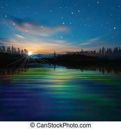 alba, astratto, lago, fondo, foresta