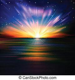 alba, astratto, mare, stelle, fondo