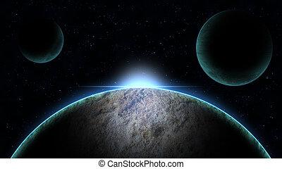 alba, illustrazione, pianeta, spazio