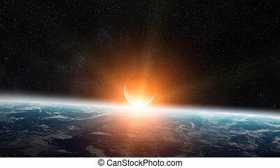 alba, pianeta, sopra, spazio, terra