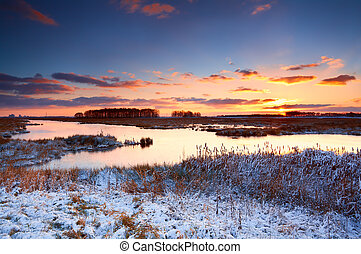 alba, sopra, fiume, inverno, colorito